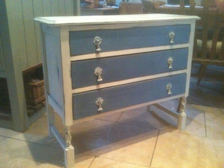 Annie Sloan Greek Blue And Old White Chest Of Drawers Furniture Project Ideas Pinterest Painted