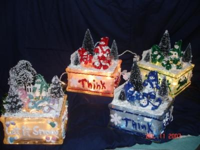 glass block with lights inside