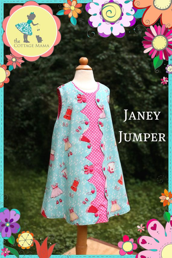 Girls Dress PRINTED PATTERN: Janey Jumper - Original Paper Printed Sewing Pattern - Size 6 Month through 10 Years