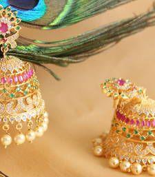 Buy Gorgeous goldplated cz-ruby-emerald  designer royal jhumkka jhumka online