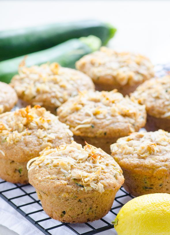 Clean Eating Lemon Zucchini Muffins -- Whole wheat muffins sweetened with honey and topped with coconut lemony topping. #vegetarian