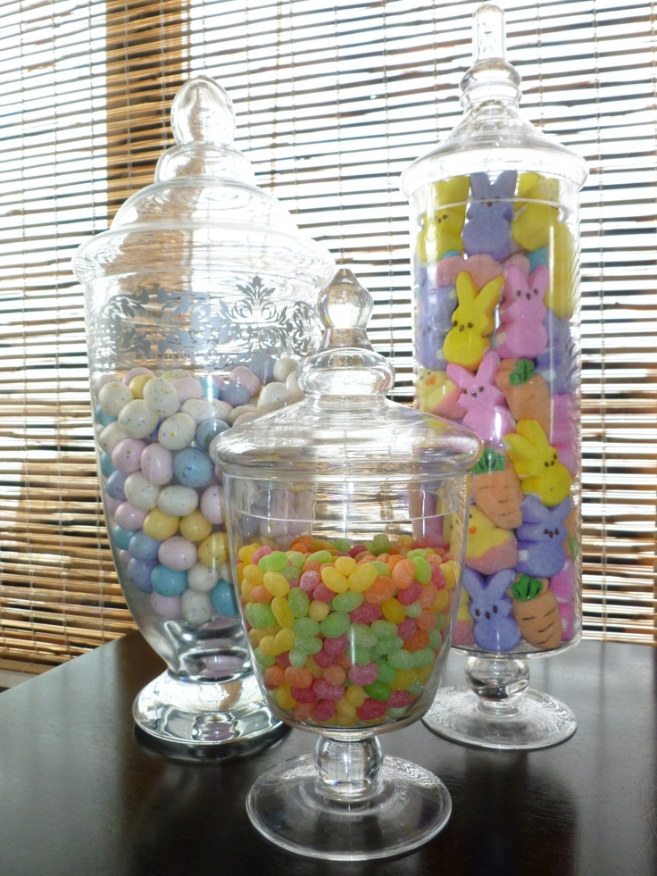 """""""Easter"""" Apothecary Jars.  I love my Apothecary jars from Pier One.  I fill with my favorite candies for every season!"""