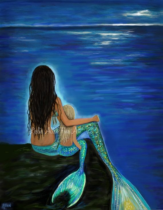 Mermaid Art Mermaid Art Print Mother by LeslieAllenFineArt on Etsy