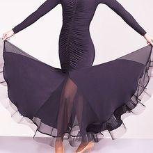 Zľava Nové latinské tance šaty pre dámy čierna farba dlhým rukávom Zobrazenie sukne nosia ženy Poly Modern Ballroom šaty B009 (Čína (pevninská časť))