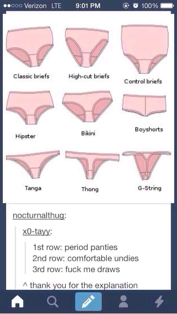 "Hahaha that's funny...but seeing as I don't even own any underwear that's even similar to the top row,the 2nd row I guess would be ""period panties"""