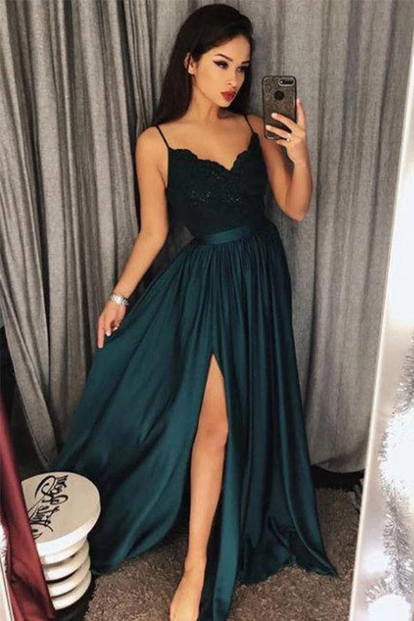 Dark Green Spaghetti Straps Split Front Lace Long Sleeveless Prom Dresses PH570