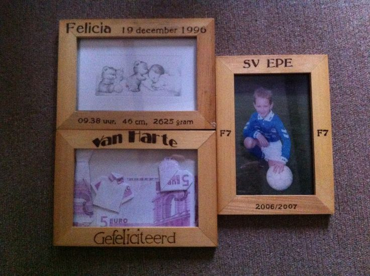 houten fotolijstjes persoonlijk gemaakt door brandschilderen