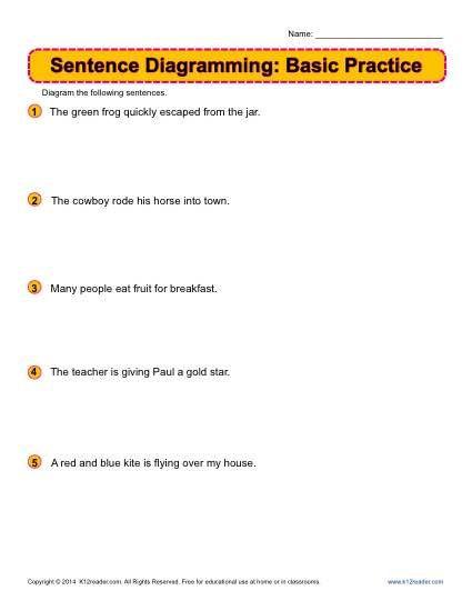 sentence diagramming basic practice worksheets. Black Bedroom Furniture Sets. Home Design Ideas