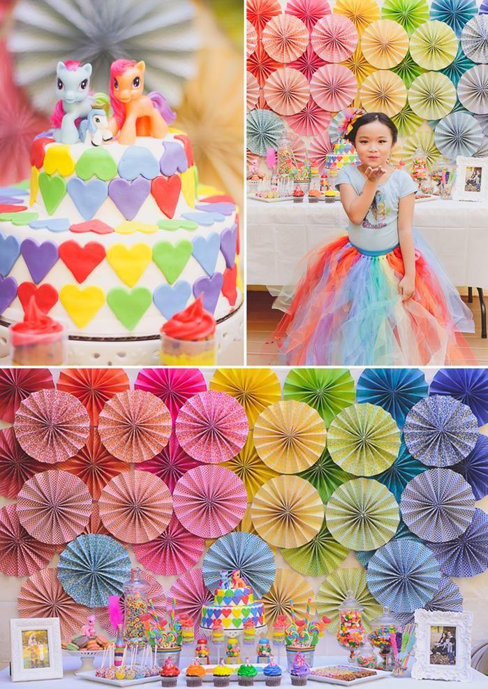 Rainbow Themed My Little Pony Party with Such Cute Ideas via Kara's Party Ideas | KarasPartyIdeas.com #RainbowParty #MyLittlePonyParty #PartyIdeas #PartySupplies #RainbowDash