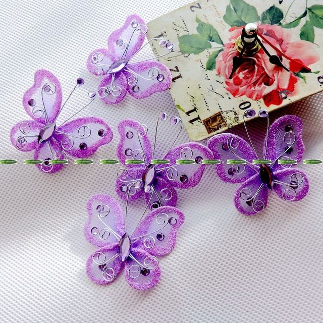 5.3 cm bruiloft kerst strand dansen decor glitter kunstmatige draad butterfly voor haar clip kleding paars blauw fl5283