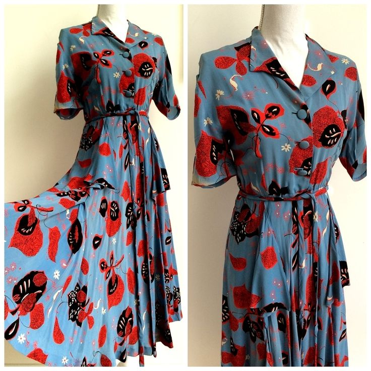 40s - DEADSTOCK NWT - Collector's Rayon Silk Belted Dress - W31 (80cm), €190