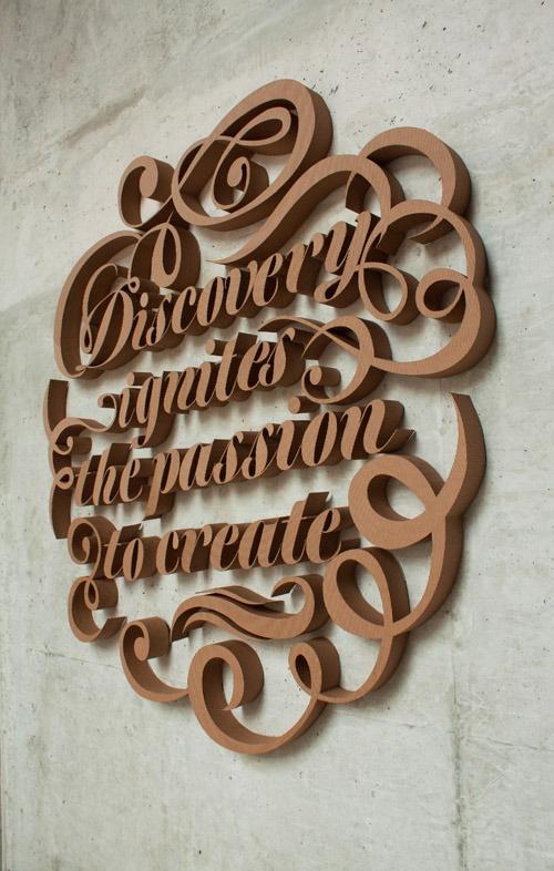 Beautiful cut cardboard letters by Farah Tamachi