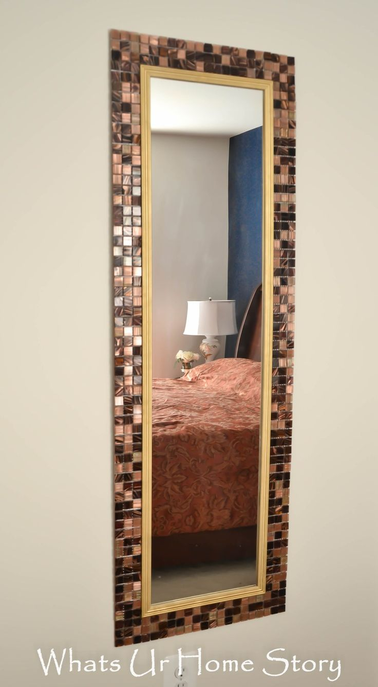 DIY Tile Mirror, how to make a mirror with tile frame with elmer's probond advanced