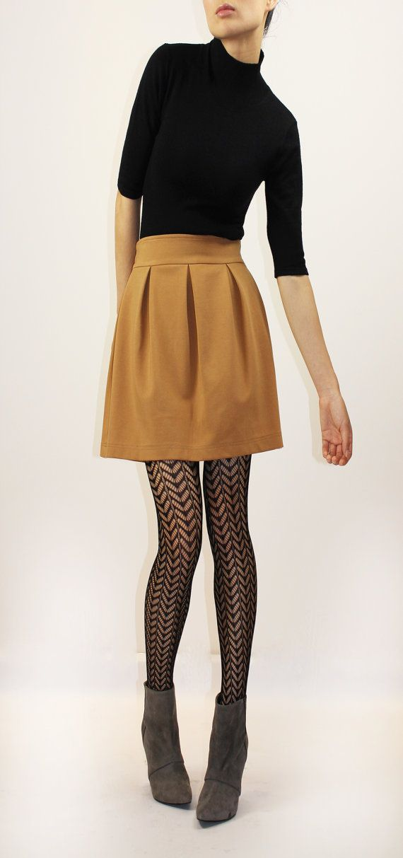 Camel pleated short skirt by EllaLai on Etsy, $89.00