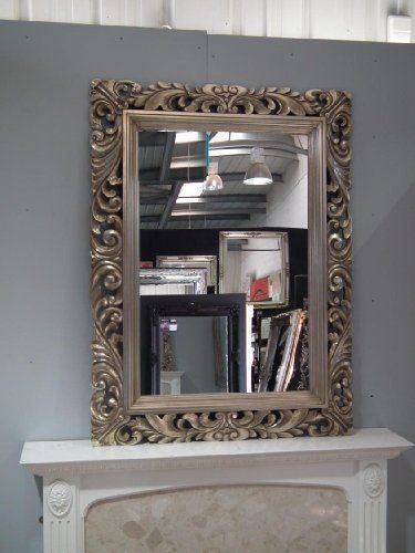 """4FT"""" X 3FT"""" (122cmx92cm) Large Silver Framed Hairdressors Salon Mirror Carved Solid Wood Frame Beautiful Antique Design Ornate Shabby Chic Over Mantle Big Wall Mirror 24″ x 36″ Mirror Glass Size   Bathroom Furniture UK"""
