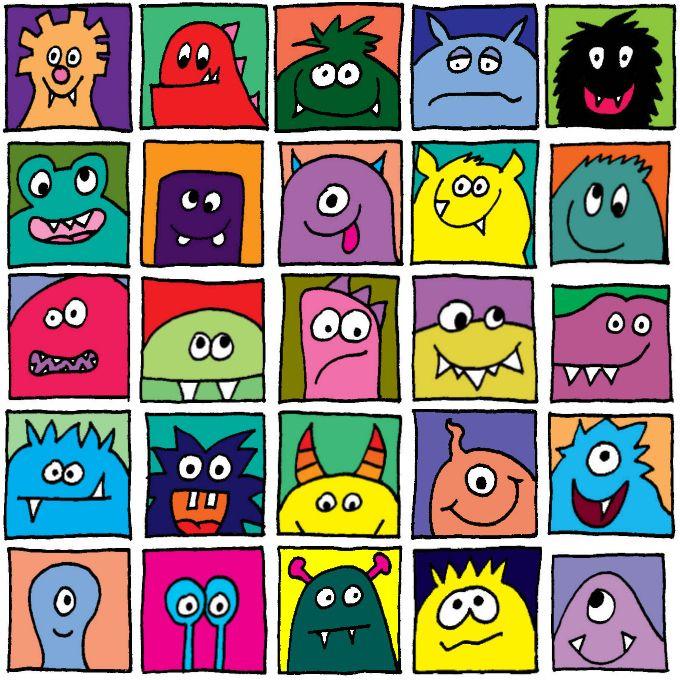 Monster im Quadrat – bunt