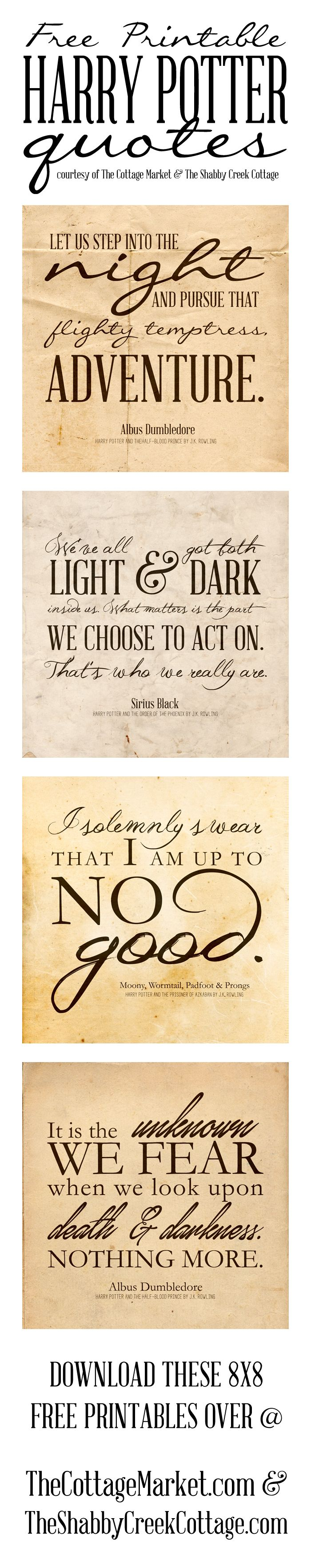 Free Printable Harry Potter Quotes courtesy of The Cottage Market and Shabby Creek Cottage