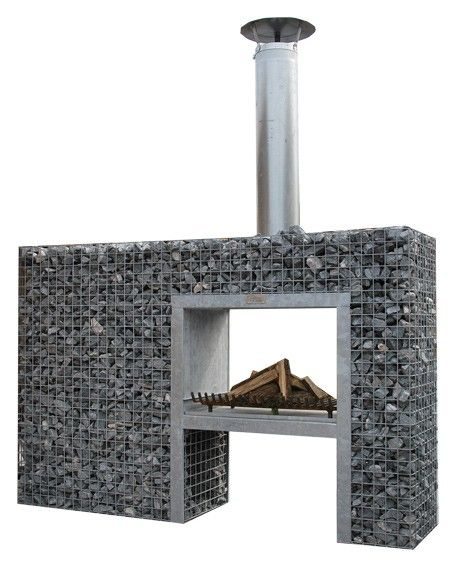Gabion double sided fireplace BBQ - Garden fireplaces