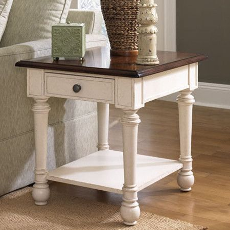 Two Tone Wood End Table With A Bottom Display Shelf And Turned Legs. Product
