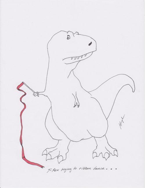 T-rex trying to ribbon dance...