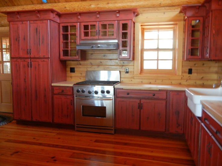 interesting red kitchen cabinet ideas | Pin by Bare Bones Studio on Kitchens | Rustic kitchen ...