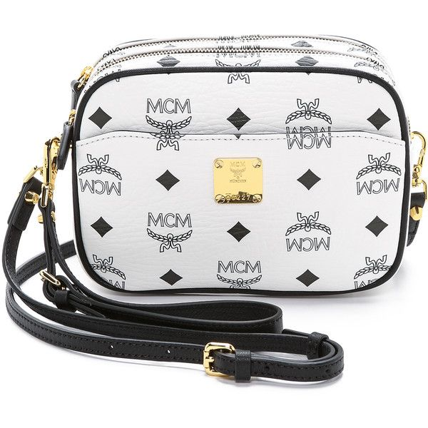 MCM Camera Cross Body Bag ($460) ❤ liked on Polyvore featuring bags, handbags, shoulder bags, white, mini crossbody purse, mcm purse, white shoulder bag, white cross body purse and mini crossbody handbags