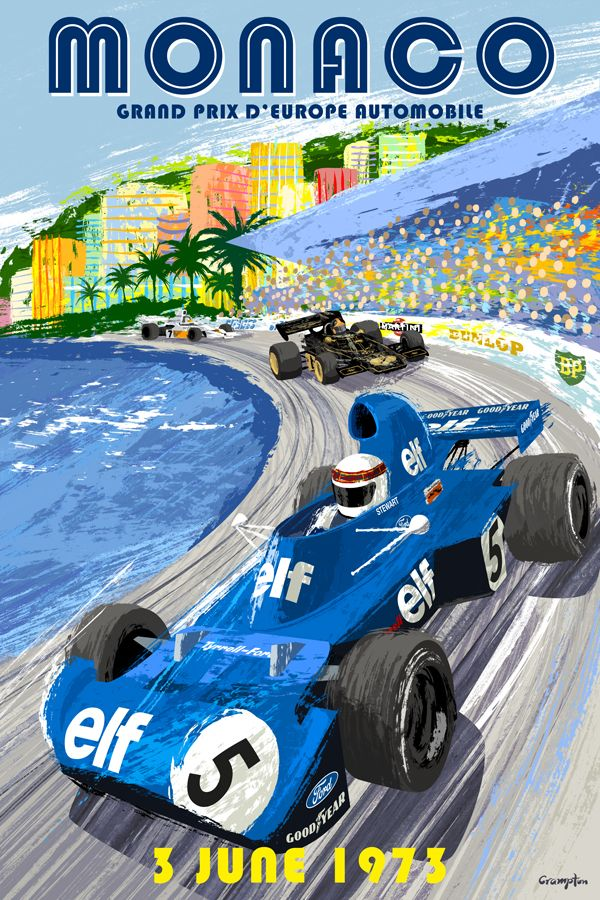 Retro style Monaco Grand Prix Formula One poster by Michael Crampton.