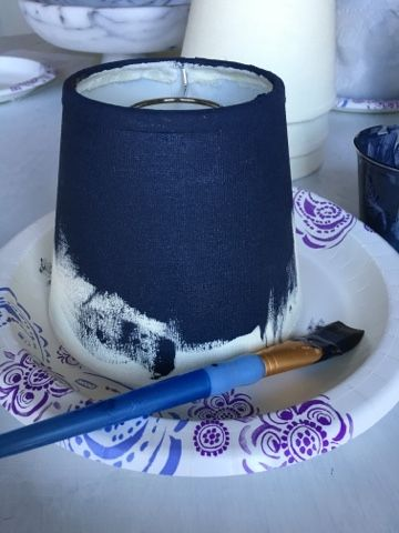 Make dye out of acrylic paint to paint lamp shades instead of recovering with fabric.