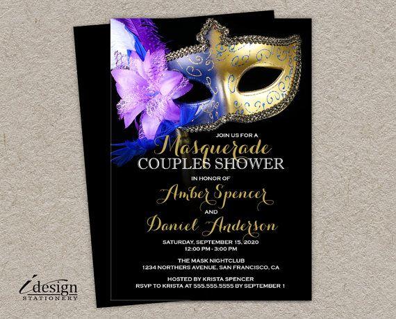 Disfraces parejas ducha invitación, DIY carnaval para imprimir invitaciones de la ducha con máscara veneciana, Masquerade Ball invita a la boda