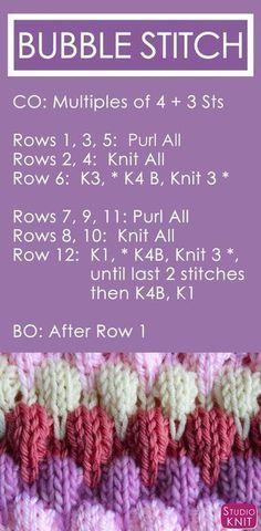 Fazendo tricô o padrão de ponto de bolha por