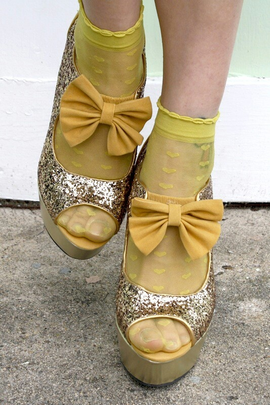 Glitter shoes and bow socks