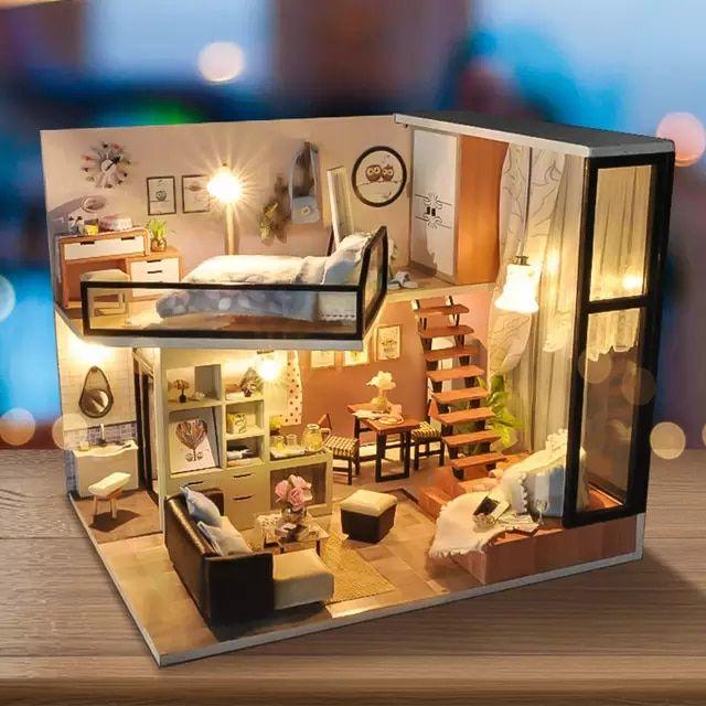 Nuevo juego DIY casa de muñecas de madera Miniatura casa de muñecas muebles Ki…