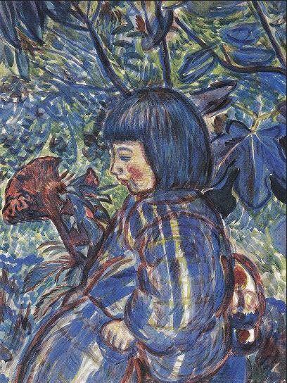 〈「庭園の少女」(1914年、福島県立美術館蔵)第一回二科展入選。村山槐多