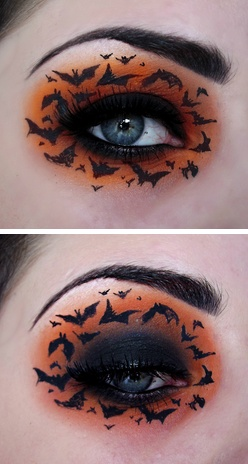 Black & orange bat eye makeup, excellent for Halloween! I would do a black and orange combo inspired from this. no bats though they are cute
