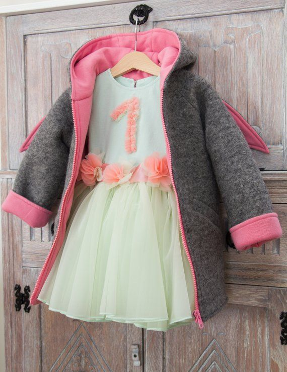 45f028e173831 Wool coat for Girls Hoodie Bunny Ears for Toddlers Woolen