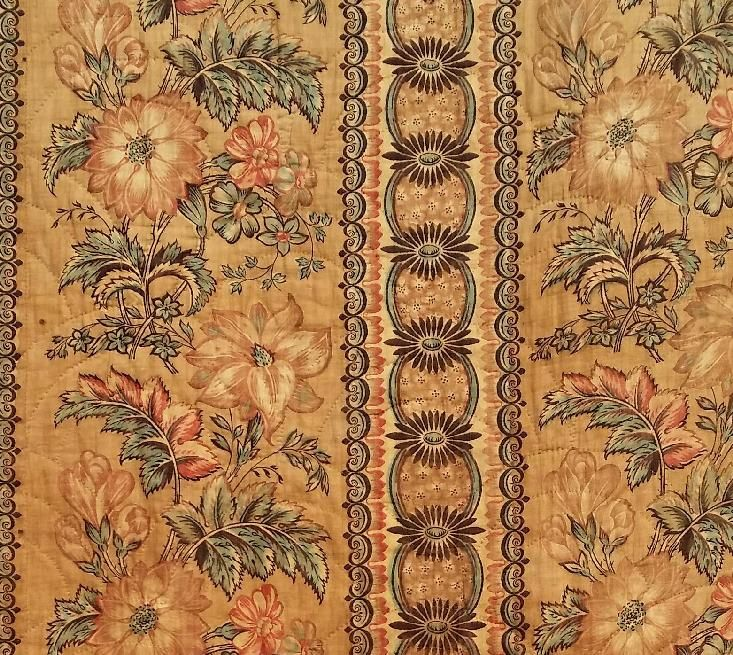 Fabric from Antique 1830 Printed Cotton Whole Cloth Chintz Bed Cover Quilt with Pieced Skirt