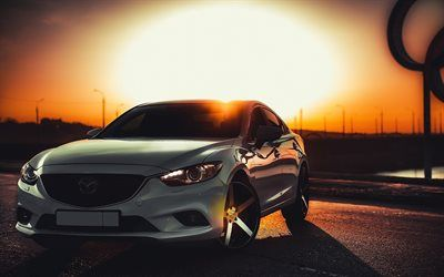 Download wallpapers Mazda 6, sunset, tuning, white Mazda, japanese cars, Mazda