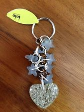 Orna Lalo, Lalo Treasures, Signature Key Ring, Silver Heart w/Stars, New w/Tag