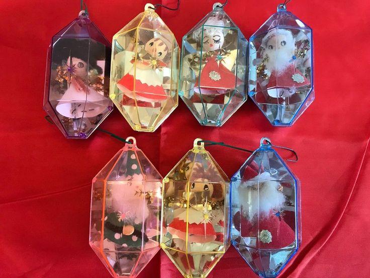 Lot of Vintage Jewelbrite Encased Plastic Christmas Tree Ornaments Lantern Shape