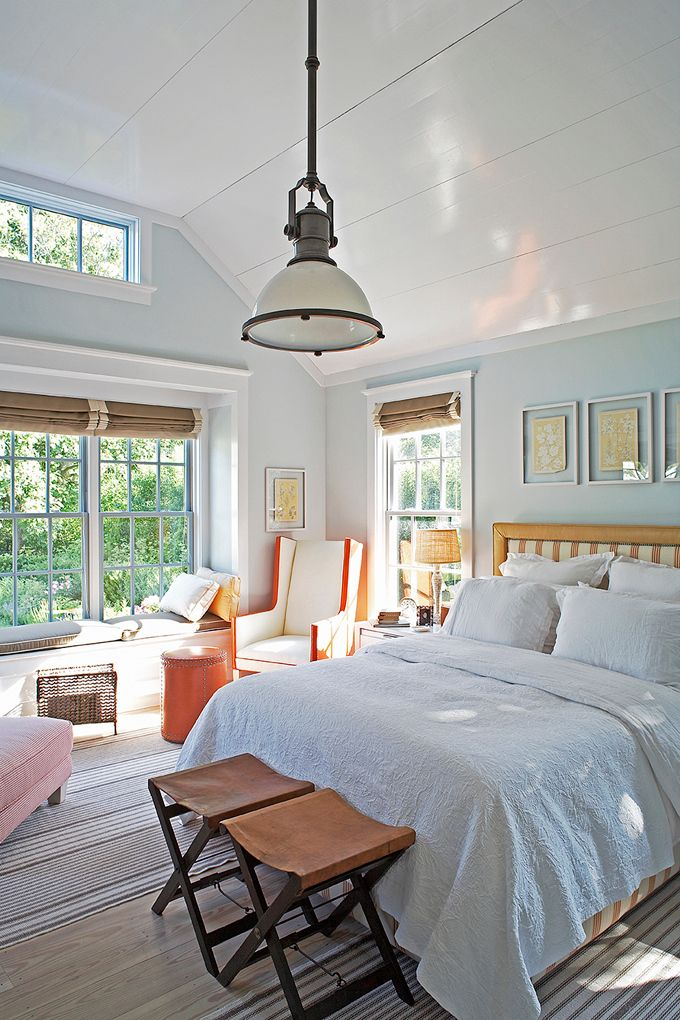 Good Beautiful Blue + White Cottage Bedroom With Mixed Texture Accessories By  Steven Gambrel