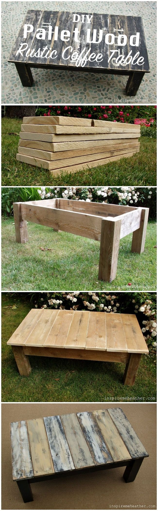 DIY Pallet Wood Rustic Coffee Table / Go for a rustic style  for your next piece of furniture. You can reuse pallet wood to get great results.