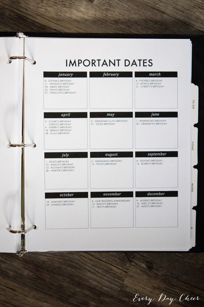 Homekeeping Binder Printables:  Calendar and To Do List.  Love how the birthday list is displayed.