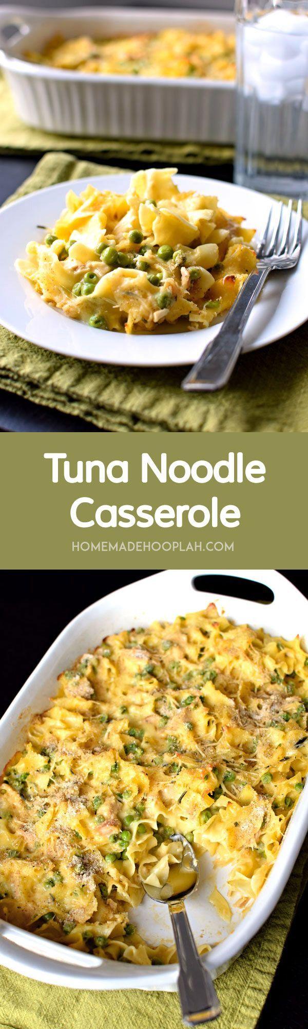 Tuna Noodle Casserole! Creamy cheesy sauce with tuna, veggies, and soft egg noodles. | HomemadeHooplah.com