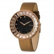Moog Rose Plated Crystal Bezel Black Dial Watch w/(ME-GRG) Brown Band  SalmaWatches.com $232.00