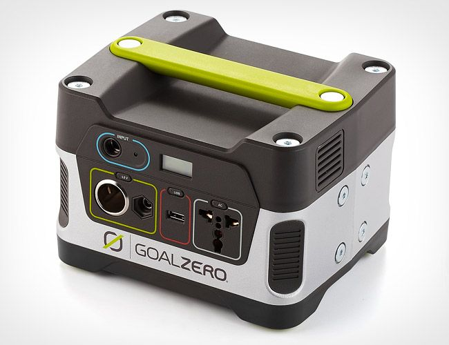Goal Zero Yeti 150 Solar Generator i The roughly 8-inch cube weighs 12 pounds and features a 150Wh lead-acid battery capable of fully recharging a typical smartphone over 15 times — or a laptop twice — via a variety of outputs, including an integrated USB port, two 12V ports or a built-in A/C outlet.