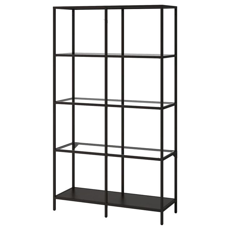 VITTSJÖ Shelf unit – black-brown / glass – IKEA   – China display