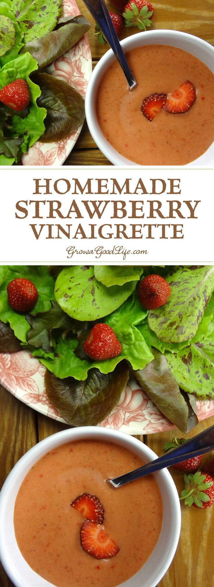 With just a few simple ingredients, this strawberry vinaigrette salad dressing is easy to whip up in a blender or food processor. Drizzle this tangy strawberry vinaigrette on freshly harvested salad greens or a mixed fruit salad. It also pairs well with robust greens such as chard, chicory, collards, kale, mustard, and spinach.