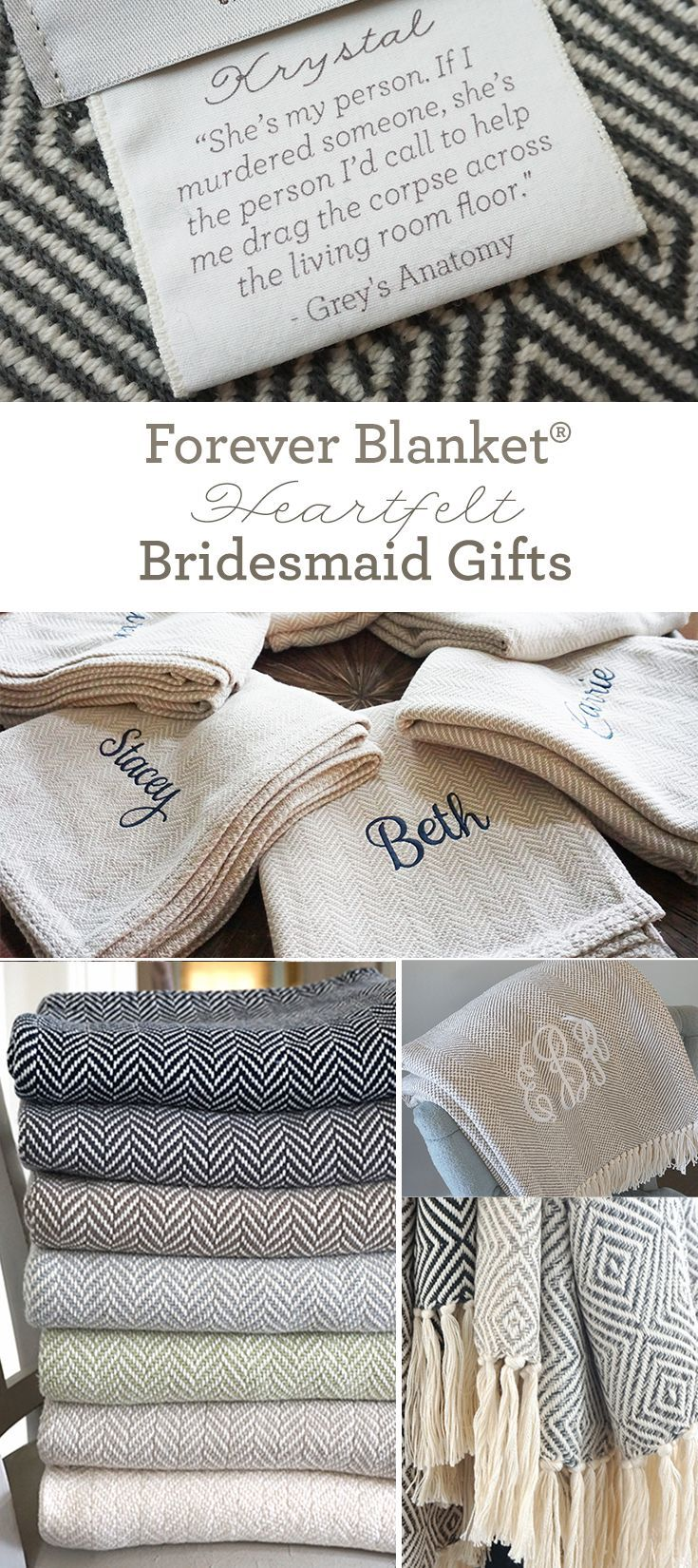 Amazingly sentimental bridesmaid gifts from Swell Forever. Forever Blanket throws. Unique message tags. Mother of the bride. Mother of the groom. Wedding party. American Made. Embroidery. Monograms. Charitable donations included.