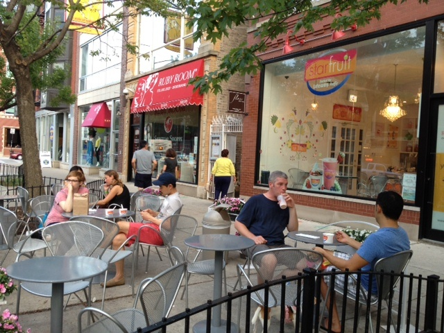 Come to our Division St. store and chill on our patio