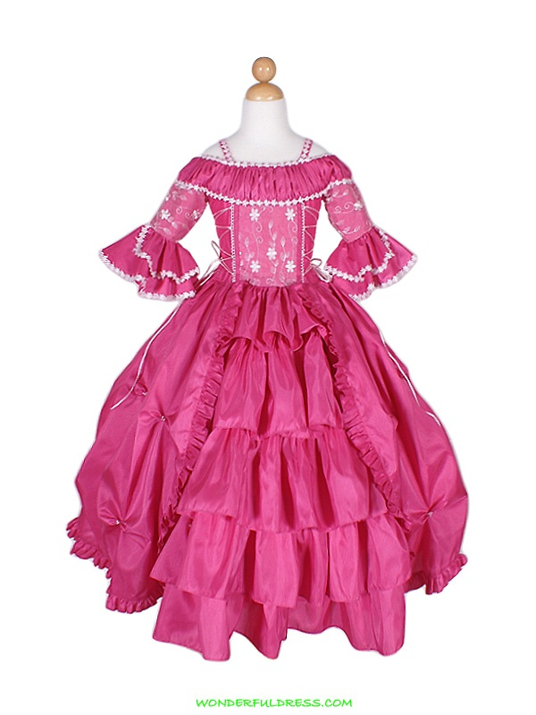 Fushia Renaissance Style Look Girl Dress